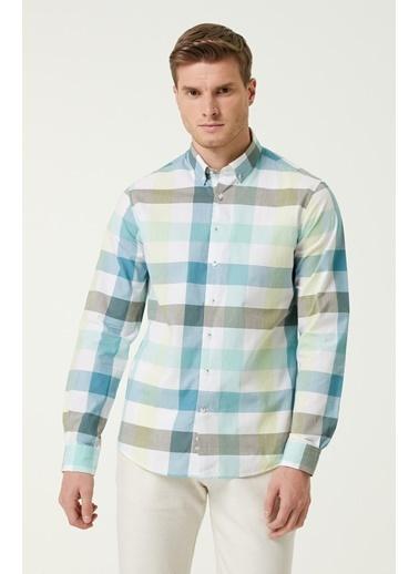 NetWork 1079844 Erkek Slim Fit Ekose Desenli Gömlek Yeşil